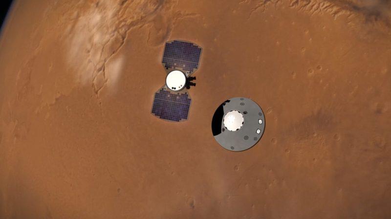 Ilustração do pouso da sonda InSight em Marte