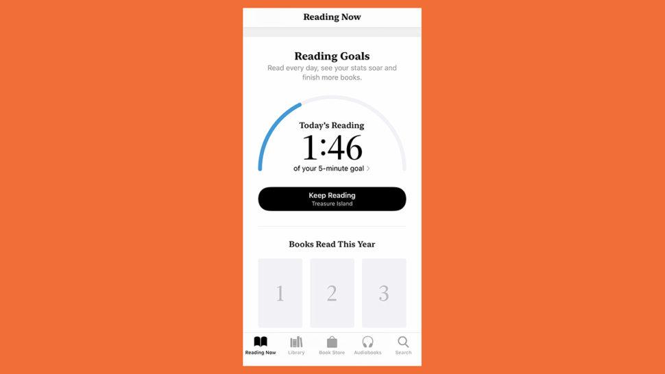 Tela de leitura do app Livros que mostra um timer de meta de leitura.