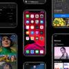 Imagem com vários iPhones justapostos mostrando recursos e telas do iOS 13.