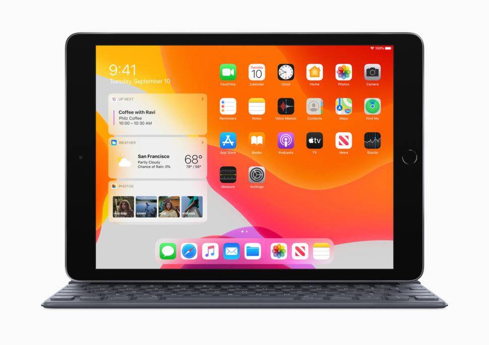 Tela inicial do de um iPad rodando o sistema iPad OS
