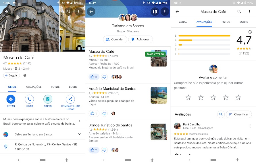 Captura de tela do recurso Local Guides, do Google Maps