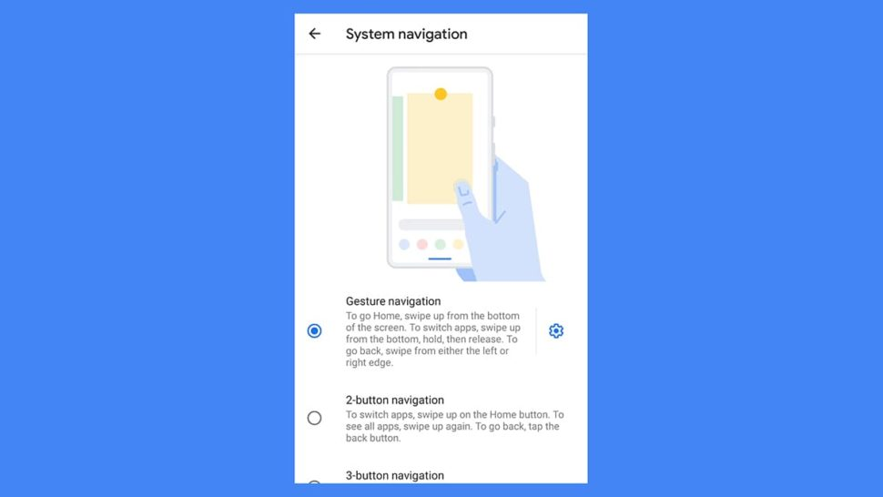 Tela de configuração do modo de gestos para Android 10
