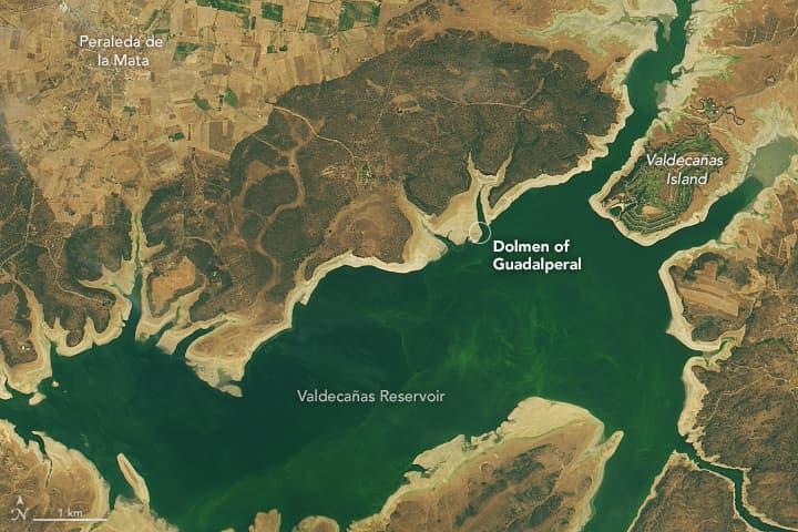 Foto de satélite mostra os níveis de água no reservatório Valdecañas em 25 de julho de 2019. Foto de satélite mostra os níveis de água no reservatório Valdecañas em 25 de julho de 2019.