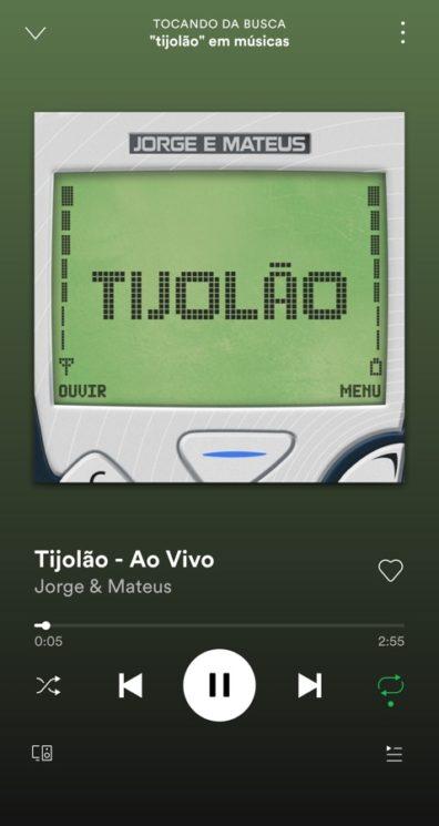 """Arte da música """"Tijiolão"""" no tocador do Spotify"""