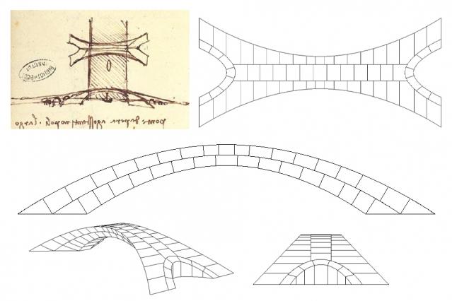 Desenho de Da Vinci ao lado de esboço da réplica feita pelos estudantes do MIT