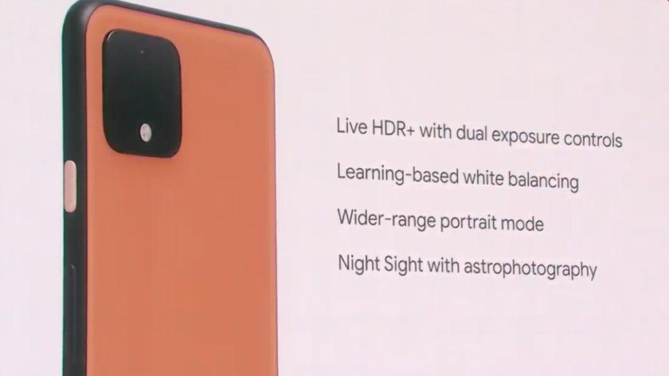 Detalhes da câmera do Pixel 4 em inglês