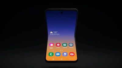 Design de smartphone dobrável da Samsung em format flip