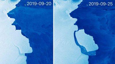 Antes e depois de iceberg que se soltou da plataforma de gelo Amery
