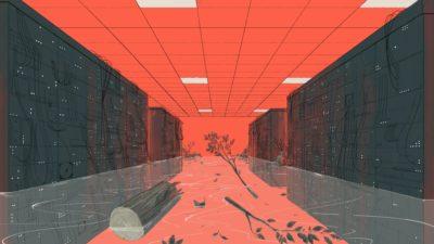 Ilustração com centro de dados inundado