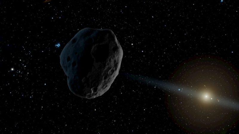 Representação artística de um asteroide viajando em direção ao Sistema Solar
