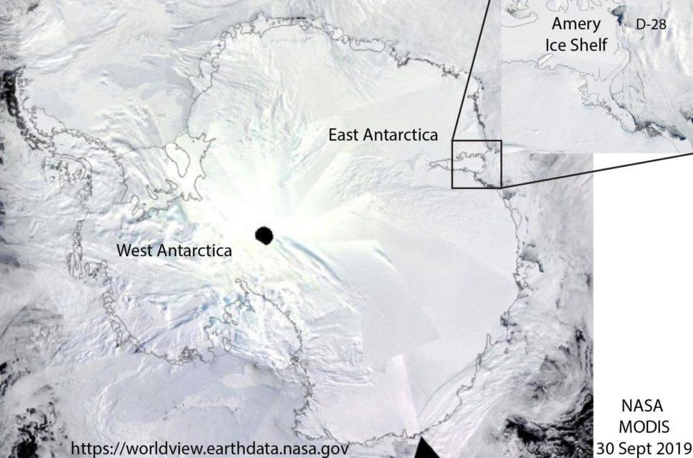 Mapa da Antártida mostrando a localização da plataforma de gelo Amery
