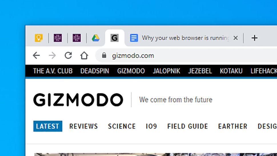 Página mostrando o gizmodo.com