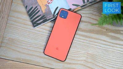 Google Pixel 4 de cor laranja