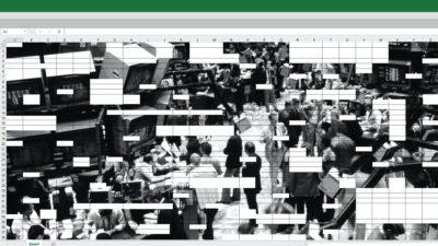 Planilha do Excel com imagem preto e branco do mercado financeiro