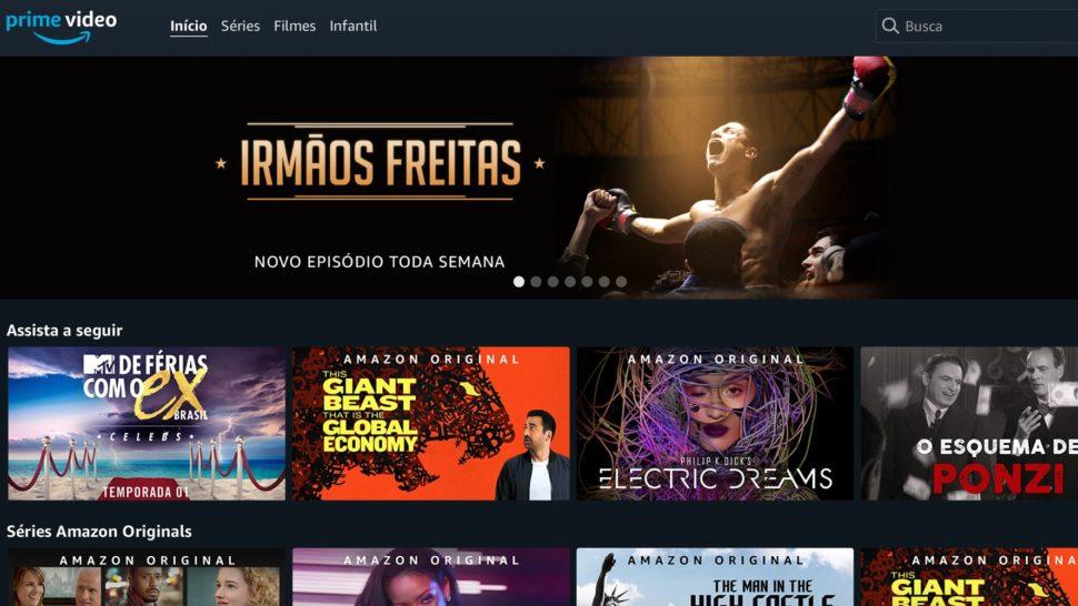 Tela do serviço de vídeo da Amazon Prime Video
