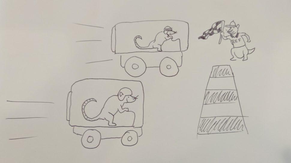 Ilustração com dois ratos disputando uma corrida