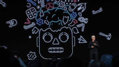 Tim Cook, CEO da Apple, durante evento de desenvolvedores WWDC 2019