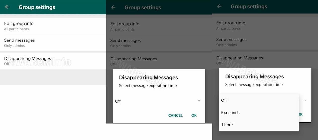 Capturas de tela mostram opção de que desaparecem no WhatsApp