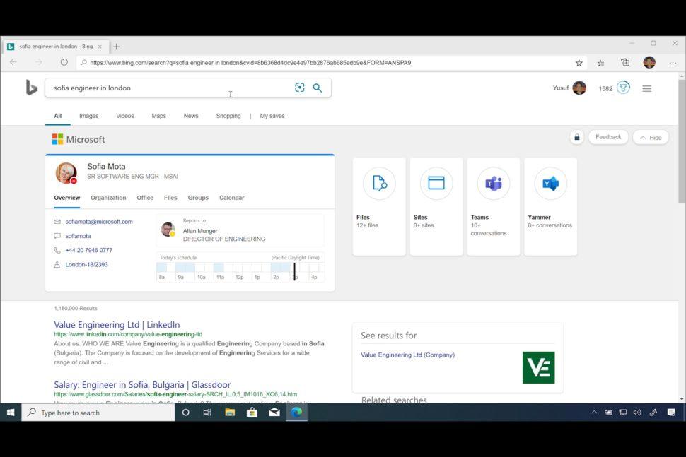 Navegador Microsoft Edge fazendo buscas sobre funcionário dentro de uma intranet