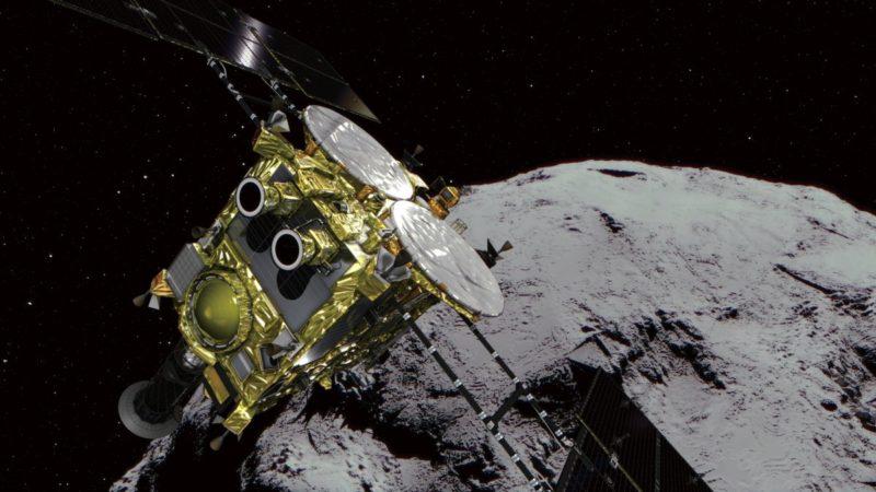 Concepção artística da sonda Hayabusa2 no asteroide Ryugu