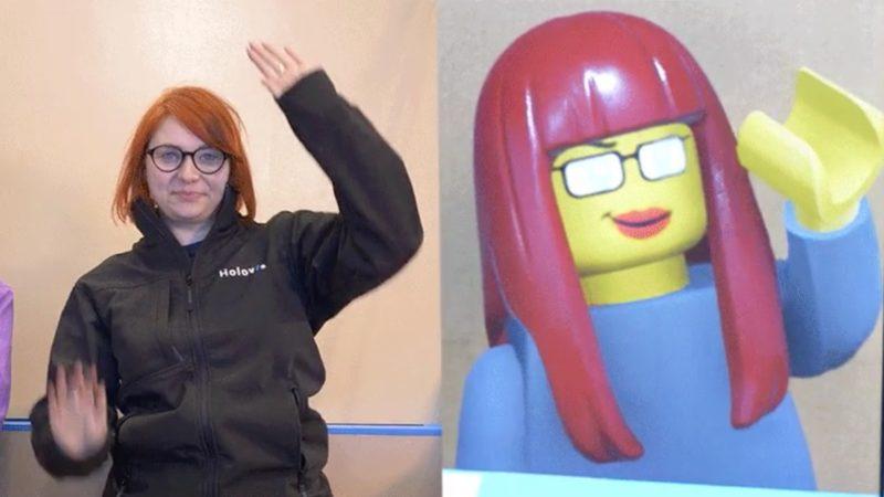 Imagem de atração parque da Lego em que sistema de inteligência artificial transforma pessoas em personagem de Lego