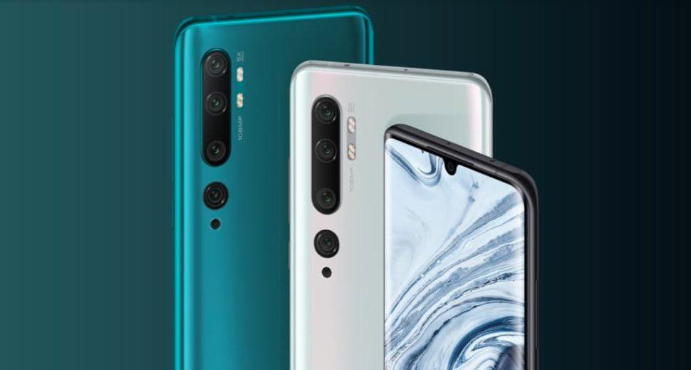 Detalhe do smartphone da Xiaomi Mi Note 10 com cinco câmeras