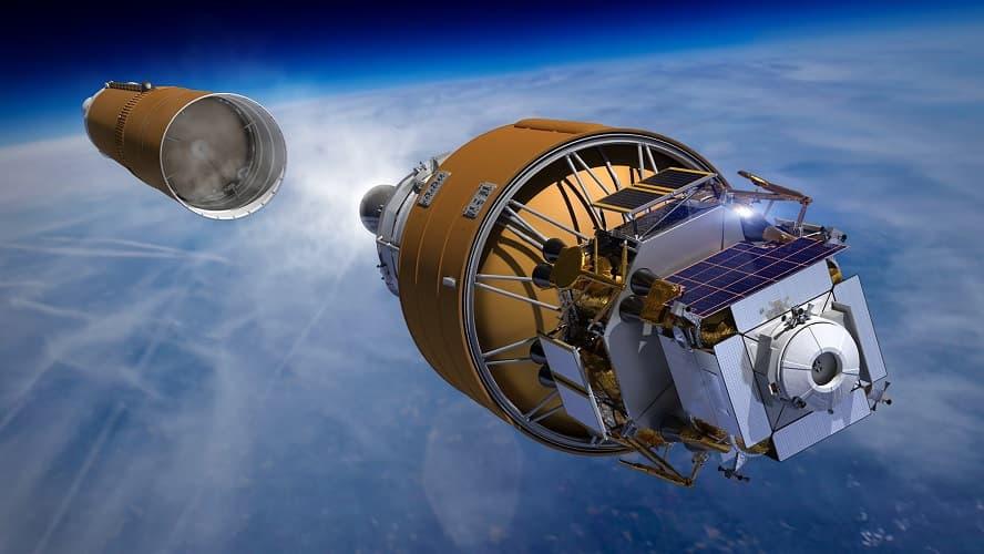 Imagem conceitual mostrando o sistema integrado de aterrissagem de humano, da Boeing, sendo depositado no espaço após o lançamento do foguete SLS. Crédito: Boeing