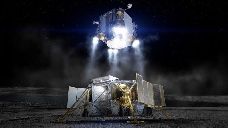 Imagem conceitual mostra elemento de ascensão — com astronautas dentro — deixando a superfície lunar. O elemento de descida, após deixar os astronautas, ficaria para trás. Crédito: Boeing