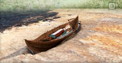 Representação artística do barco-túmulo da mulher viking