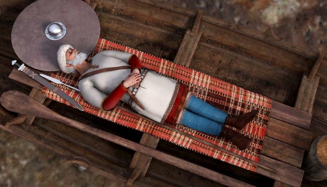 Concepção de artista do sepultamento da barco-túmulo do homem Viking