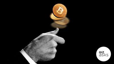 Ilustração de moeda com símbolo do bitcoin sendo jogada para o alto