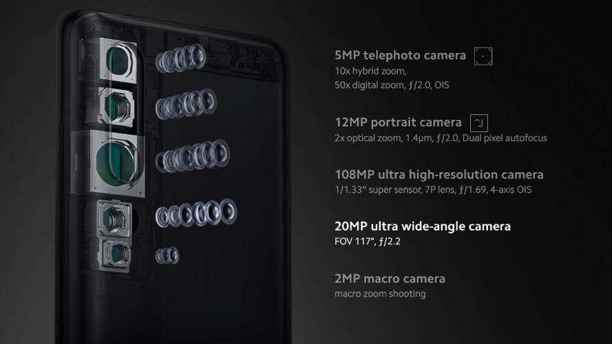 Detalhamento de câmeras do Mi Note 10