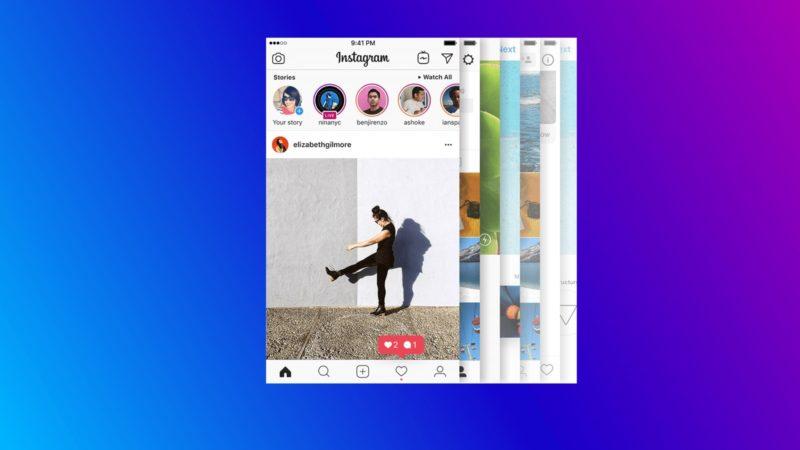 Capturas de telas do app do Instagram em um fundo colorido