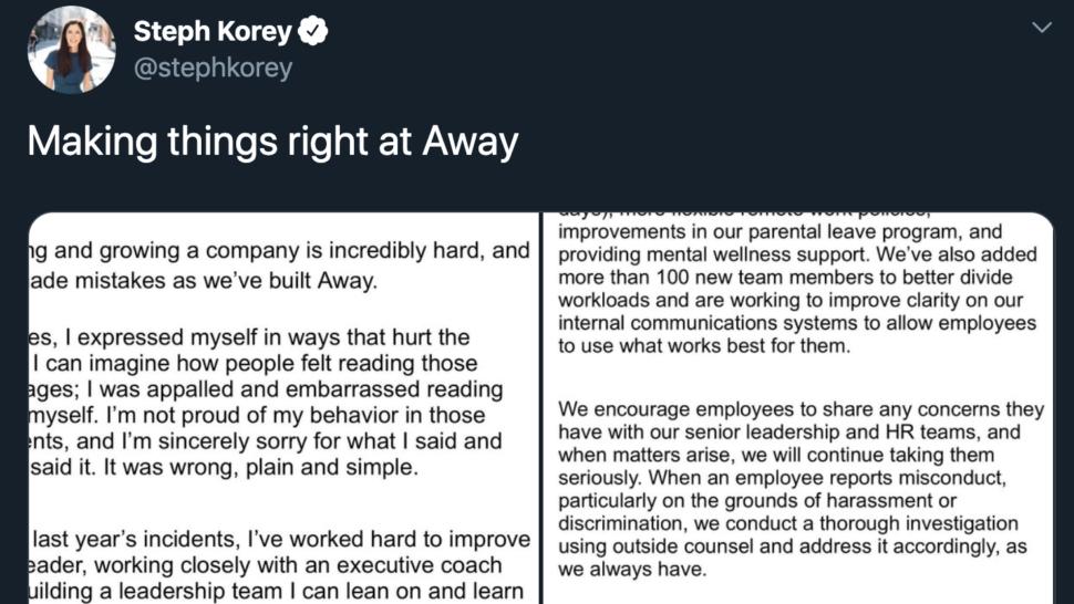 CEO da Away, Steph Korey, em tuíte com comunicado sobre práticas de sua empresa