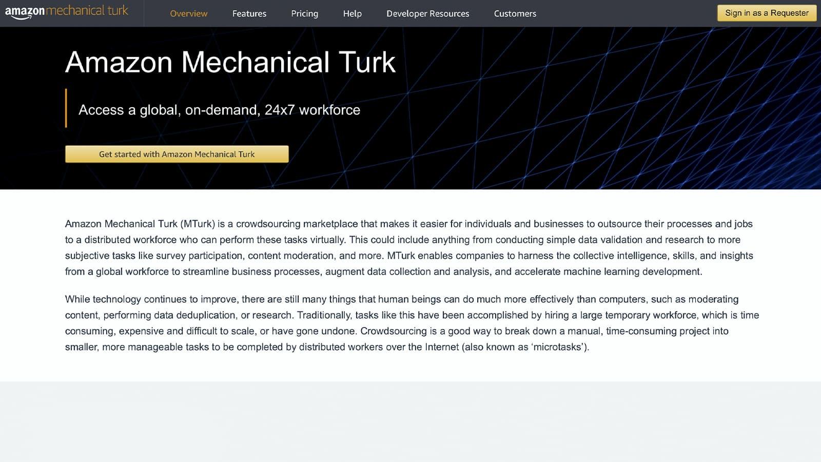 Página inicial do Amazon Mechanical Turk