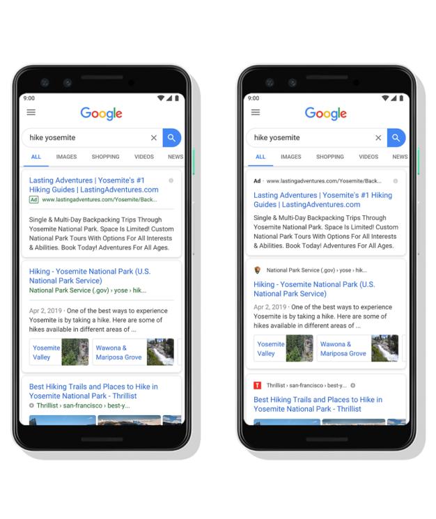 Antes e depois de mudança da busca do Google no celular