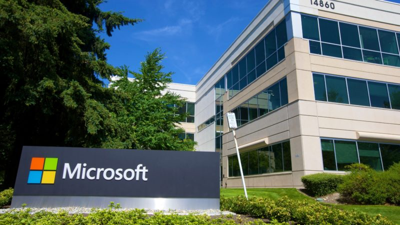 Escritório como logotipo da Microsoft. Crédito: Stephen Brashear/Getty Images