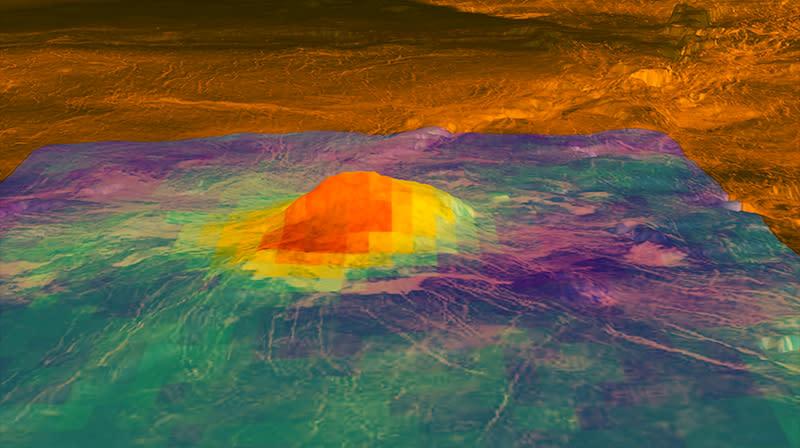 Imagem do pico vulcânico Idunn Mons, criada usando dados da Venus Express. Crédito: NASA