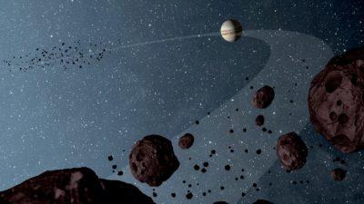 Representação artística de Júpiter e dos asteróides de Tróia