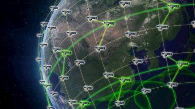 Concepção artística de um sistema de defesa por satélite (sem escala)
