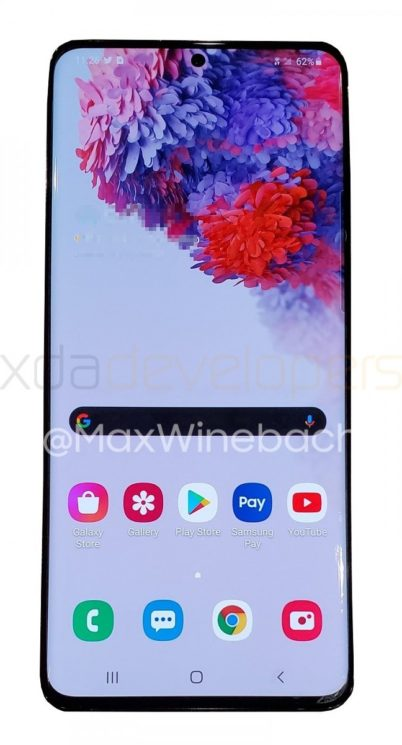 Imagem vazada mostra frente do Galaxy S20+