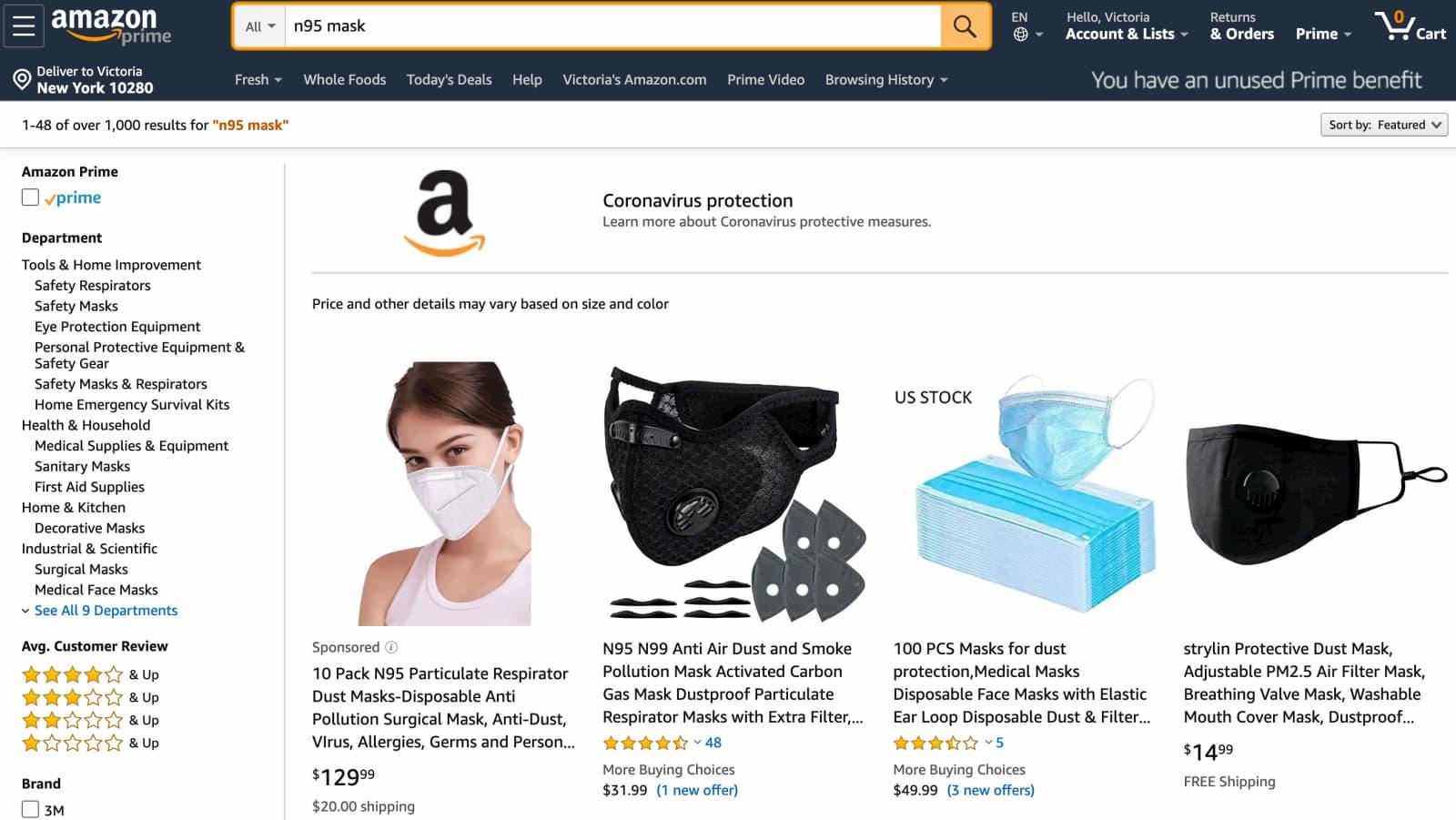 Pesquisa por máscaras N95 na Amazon