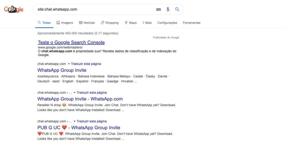 Busca por grupos de WhatsApp no Google