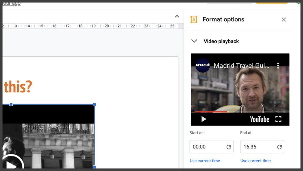 Tela de edição de vídeo no Google Slides