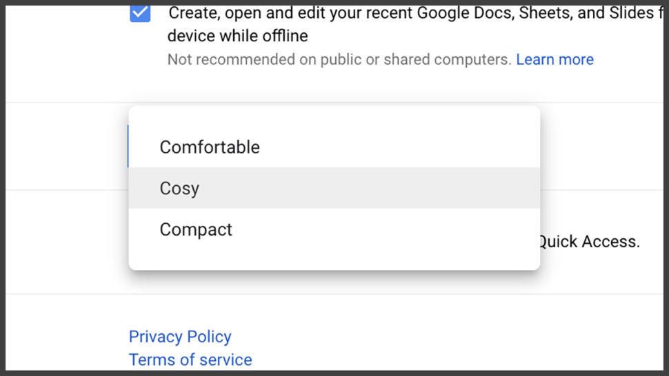 Interface do Google Drive para mudar configuração da tela
