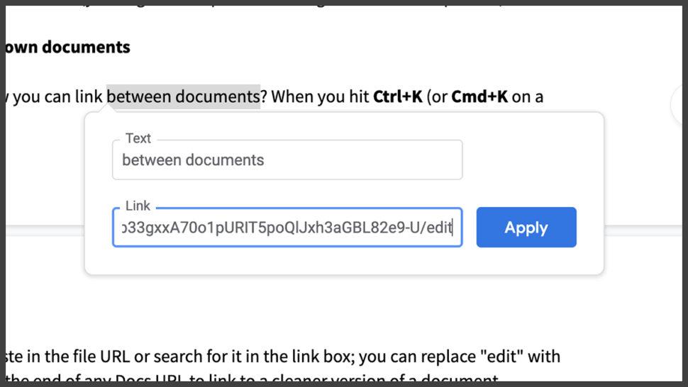 Opção para linkar outros documentos no Google Docs