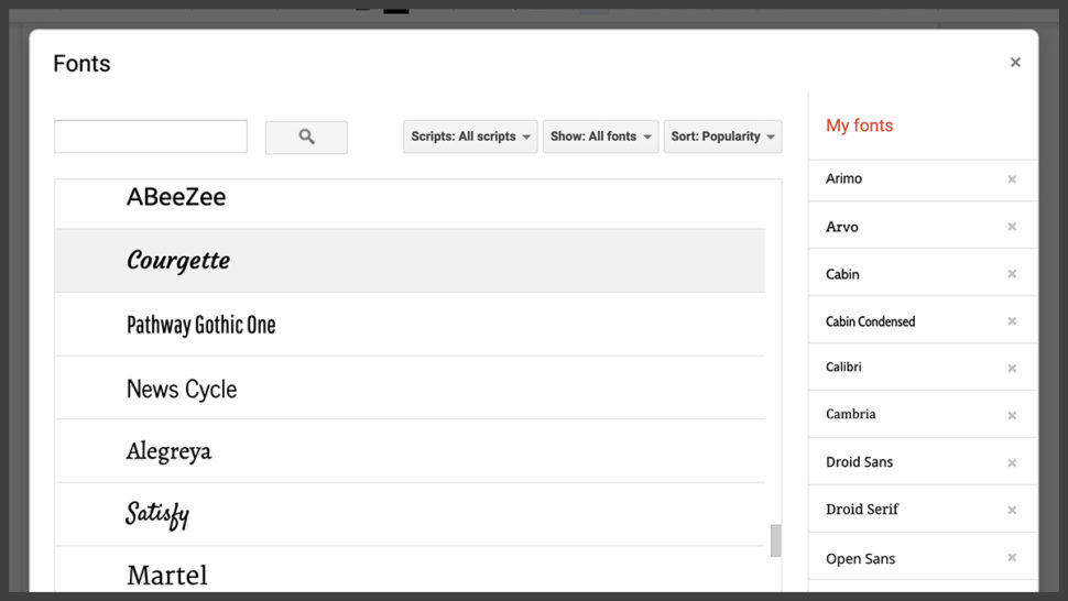 Mudança de fontes no Google Docs