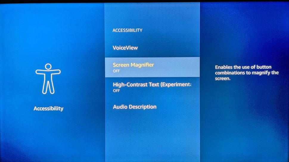 Recurso de acessibilidade do Amazon Fire TV para melhorar visualização da tela