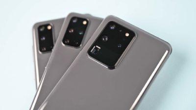 Câmeras dos três smartphones da linha Samsung Galaxy S20