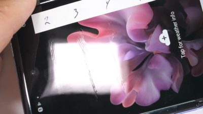 Arranhões na tela do Galaxy Z Flip